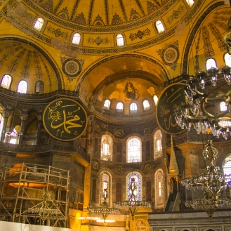 Inside the glittering Hagia Sophia