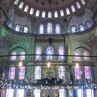 The inside of the Blue Mosque